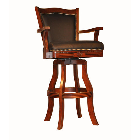 "ECI Furniture 30"" Leather Nail Head Barstool In Distressed Walnut"