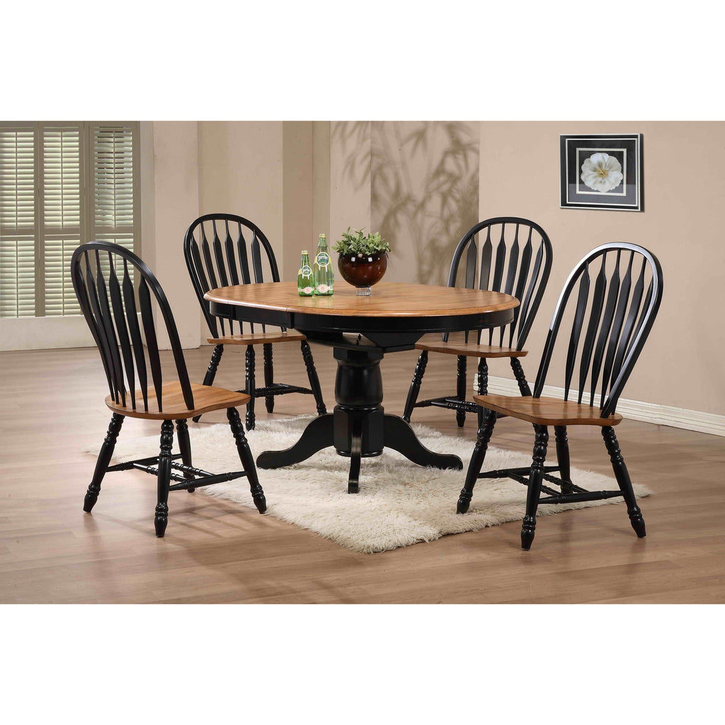 Eci Furniture Black Round Dining Table With 4 Bow Back Side Chairs