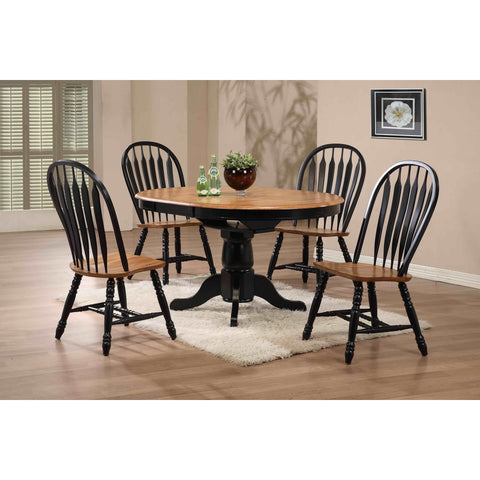 ECI Furniture Black Round Dining Table With 4 Bow Back Side Chairs In Black