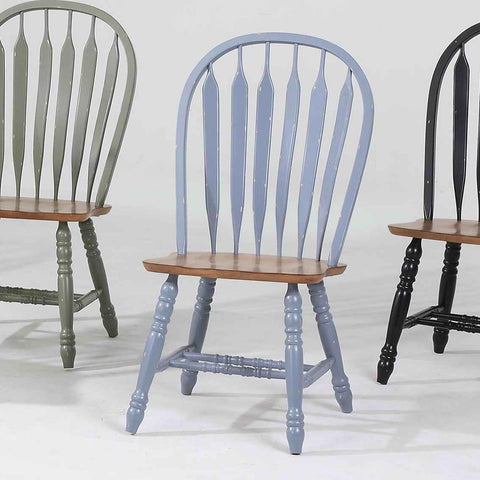 ECI Furniture Bow Back Side Chair In Blue With Rustic Finish