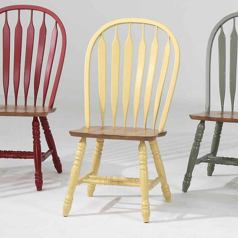 ECI Furniture Bow Back Side Chair In Yellow With Rustic Finish