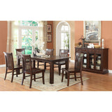 ECI Furniture Gettysburg Distressed Dark Leg Table With 6 Side Chairs and Server