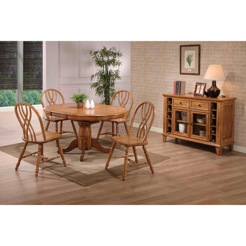 ECI Furniture Rustic Oak Round Dining Table With 4 Double X Back Side Chairs