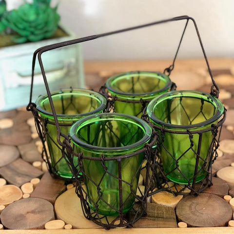 Eangee Four Votive Candle Holder Green