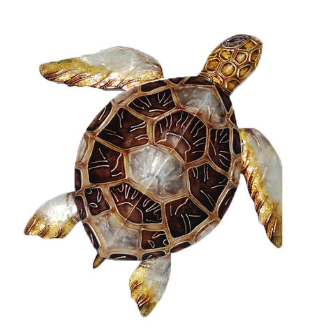 Eangee Sea Turtle Small Wall Decor Brown Checkered Shell