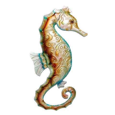 Eangee Seahorse Wall Decor Tan With Blue