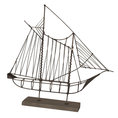 Eangee Wire Sailboat Gray Sculpture