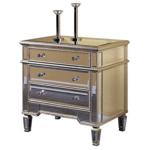 Elegant Lighting 3 Drawer Cabinet 30 in. x 20 in. x 30 in. in Silver Leaf