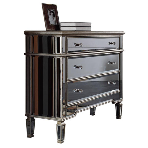 Elegant Lighting 3 Drawer Cabinet 42 in. x 16 in. x 36 in. in Silver Leaf