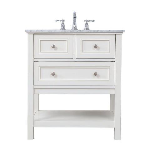 Elegant Lighting 30 in. single bathroom vanity set in White