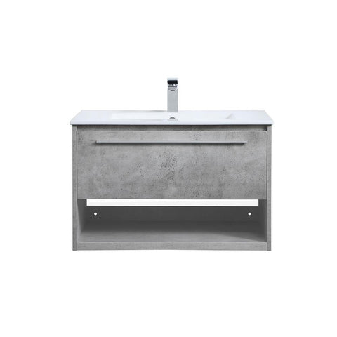 Elegant Lighting 30 inch  Single Bathroom Floating Vanity in Concrete Grey