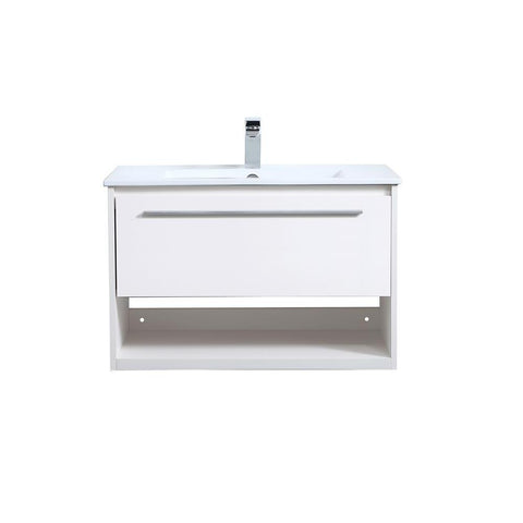 Elegant Lighting 30 inch  Single Bathroom Floating Vanity in White