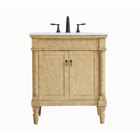 Elegant Lighting 30 inch Single Bathroom Vanity in Antique Beige