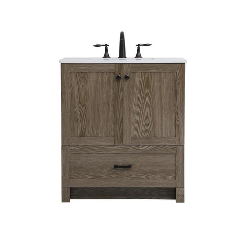 Elegant Lighting 30 inch Single Bathroom Vanity in Weathered oak