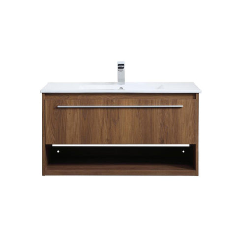 Elegant Lighting 36 inch  Single Bathroom Floating Vanity in Walnut Brown