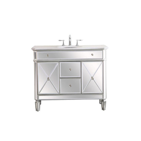 Elegant Lighting 42 in. Single Bathroom Vanity set in  antique silver