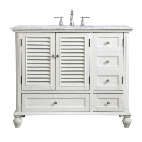 Elegant Lighting 42 inch Single Bathroom Vanity in Antique White