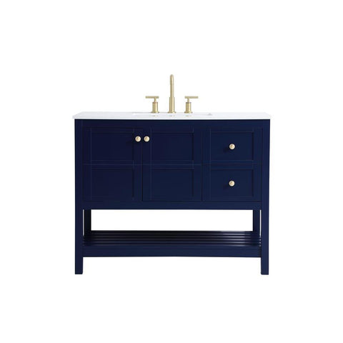 Elegant Lighting 42 inch Single Bathroom Vanity in Blue