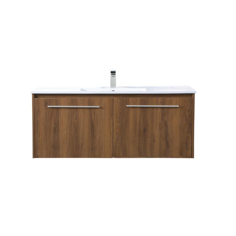 Elegant Lighting 48 inch  Single Bathroom Floating Vanity in Walnut Brown