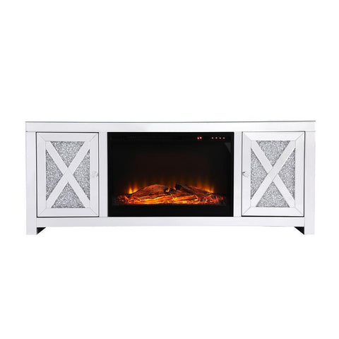Elegant Lighting 59 in. crystal mirrored TV stand with wood log insert fireplace