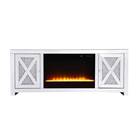 Elegant Lighting 59 in.crystal mirrored TV stand with crystal insert fireplace