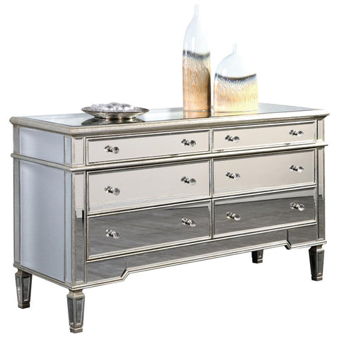 Elegant Lighting 6 Drawer Dresser 60 in. x 20 in. x 34 in. in Silver Leaf