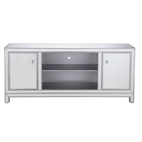Elegant Lighting 60 in. mirrored TV stand in antique silver