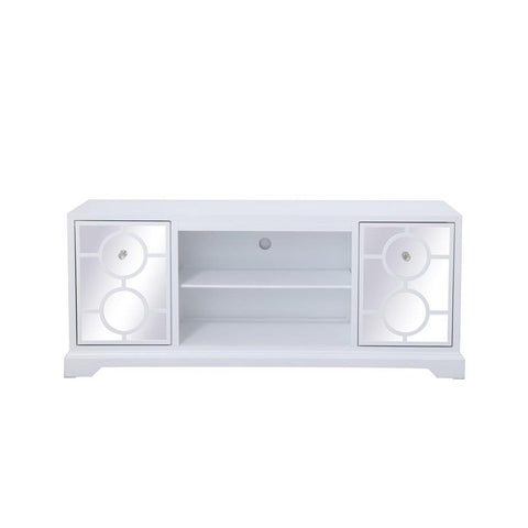 Elegant Lighting 60 in. mirrored TV stand in white