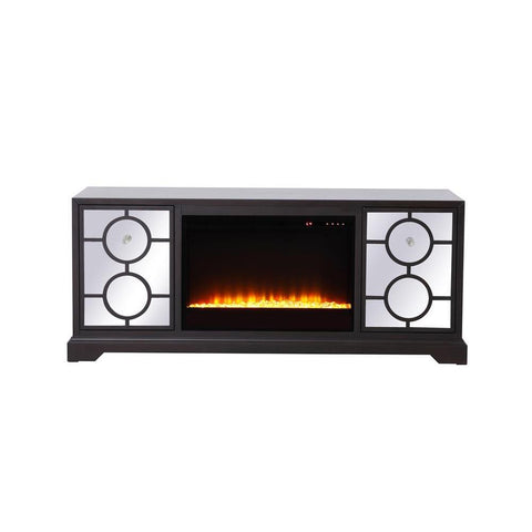 Elegant Lighting 60 in. mirrored TV stand with crystal fireplace insert in dark walnut