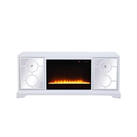 Elegant Lighting 60 in. mirrored TV stand with crystal fireplace insert in white