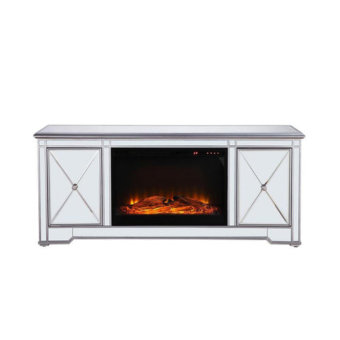 Elegant Lighting 60 in. mirrored TV stand with wood fireplace insert in antique silver