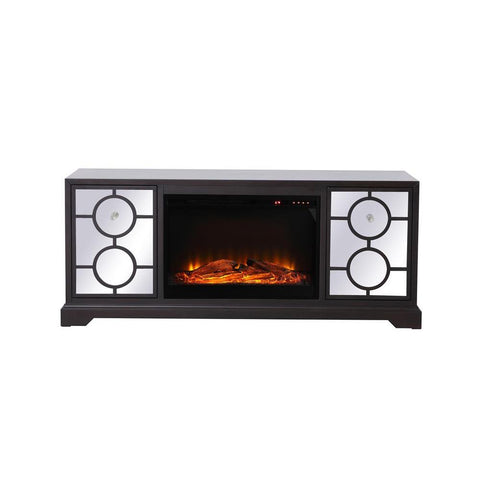 Elegant Lighting 60 in. mirrored TV stand with wood fireplace insert in dark walnut