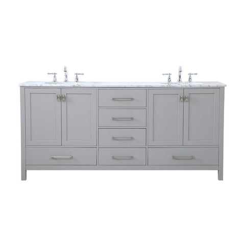 Elegant Lighting 72 inch Double Bathroom Vanity in Gray