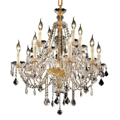 Elegant Lighting Alexandria 12 light Gold Chandelier Clear Elegant Cut Crystal