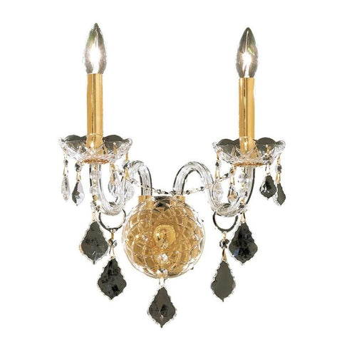 Elegant Lighting Alexandria 2 light Gold Wall Sconce Clear Elegant Cut Crystal