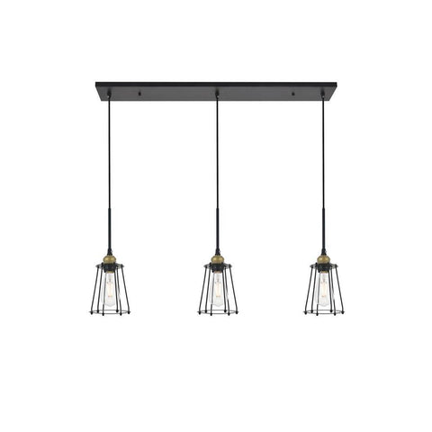Elegant Lighting Auspice 3 light brass and black Pendant