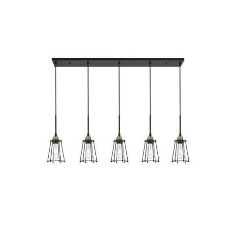 Elegant Lighting Auspice 5 light brass and black Pendant