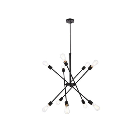 Elegant Lighting Axel 10 lights black pendant with hanging rod