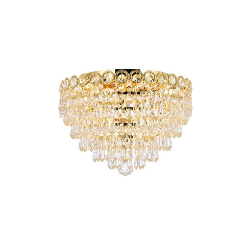 Elegant Lighting Century 4 light Gold Flush Mount Clear Royal Cut Crystal