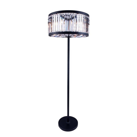 Elegant Lighting Chelsea 6 light Matte Black Floor Lamp Clear Royal Cut Crystal