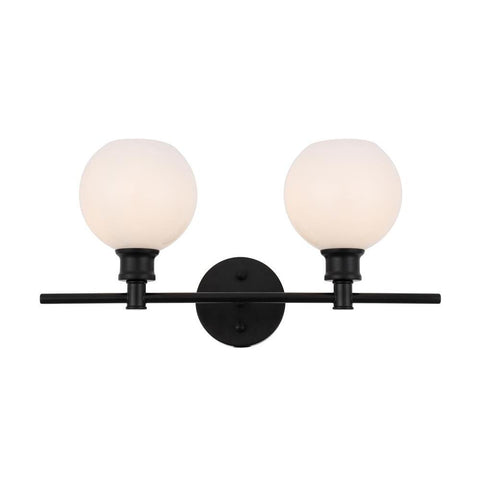 Elegant Lighting Collier 2 light Black and Frosted white glass Wall sconce