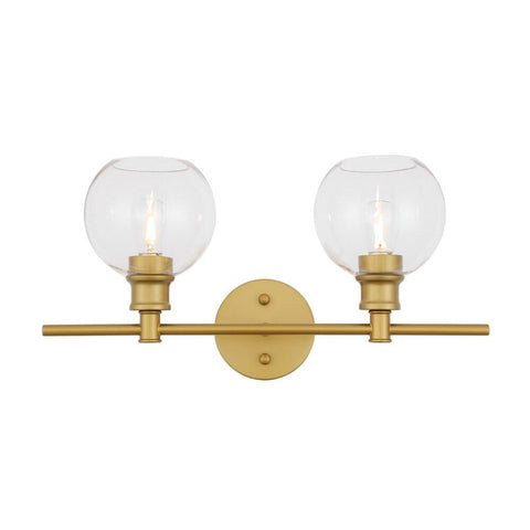 Elegant Lighting Collier 2 light Brass and Clear glass Wall sconce