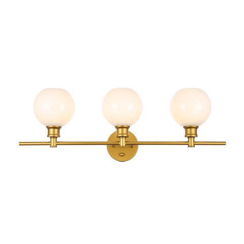 Elegant Lighting Collier 3 light Brass and Frosted white glass Wall sconce