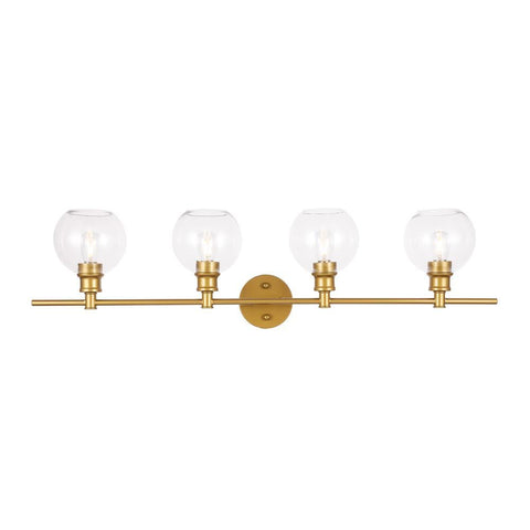 Elegant Lighting Collier 4 light Brass and Clear glass Wall sconce