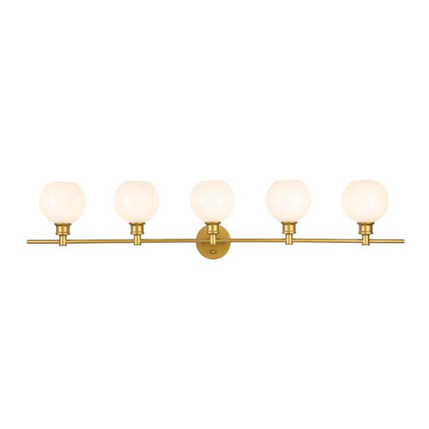 Elegant Lighting Collier 5 light Brass and Frosted white glass Wall sconce