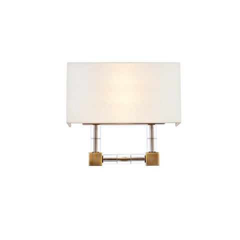 Elegant Lighting Cristal 2 light Burnished Brass Wall Sconce Clear Royal Cut Crystal