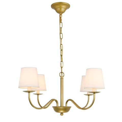 Elegant Lighting Eclipse 4 light Brass and White shade chandelier