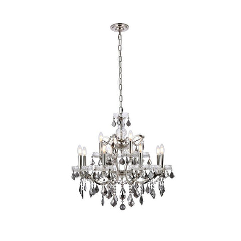 Elegant Lighting Elena 12 light Polished Nickel Chandelier Silver Shade (Grey) Royal Cut crystal