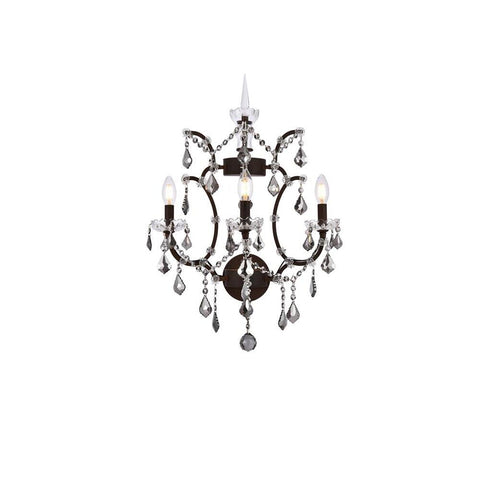 Elegant Lighting Elena 3 light Rustic Intent Wall Sconce Silver Shade (Grey) Royal Cut crystal
