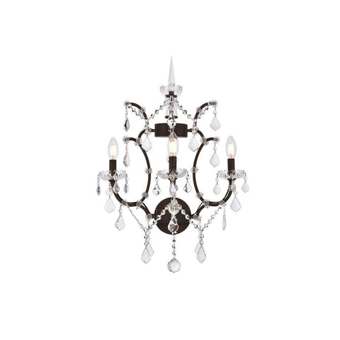 Elegant Lighting Elena 3 light Rustic Intent Wall Sconce clear Royal Cut crystal